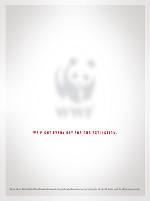 """快来加入WWF吧!成为WWF的志愿者! WWF的商标是一只熊猫,这个海报的熊猫非常淡,说明他们每天都为不被灭绝而奋斗。下面的小字写的是:""""我们有个梦想。一个没有频临绝种的生物和被保护的环境,人类学会了和大自然一起生活。我们梦想一个不再需要我们的世界。"""""""