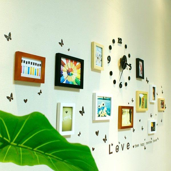 小猪猪时尚实木照片墙 照片墙挂钟 创意 相框墙送墙贴画芯,此款